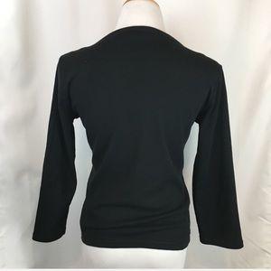 Liz Claiborne Tops - Liz Claiborne Black Lace Up Cotton 3/4 Sleeve Top